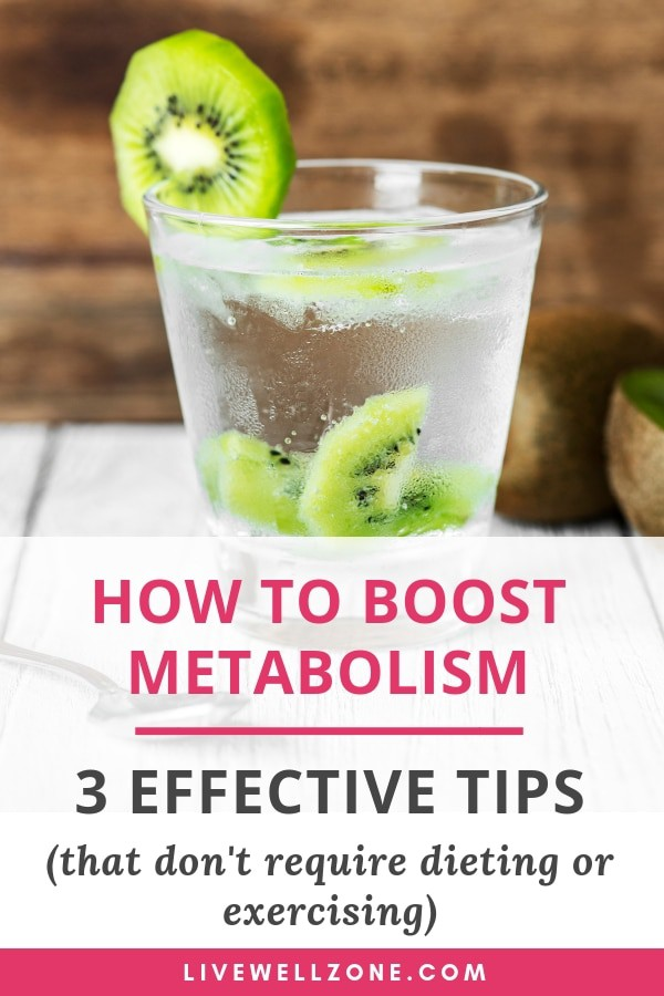 how to boost metabolism without exercising - pin image showing kiwi infused water