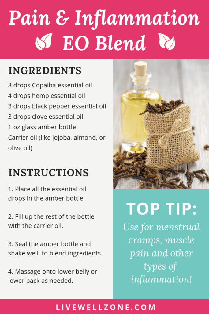 essential oils for pain and inflammation infographic clove