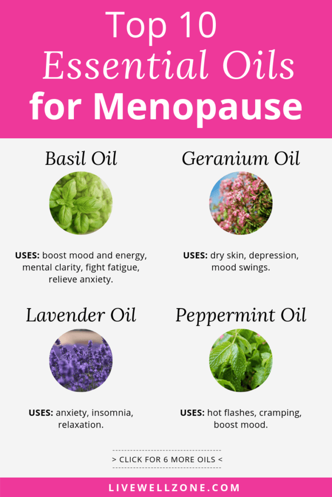 essential oils for menopause symptoms infographic