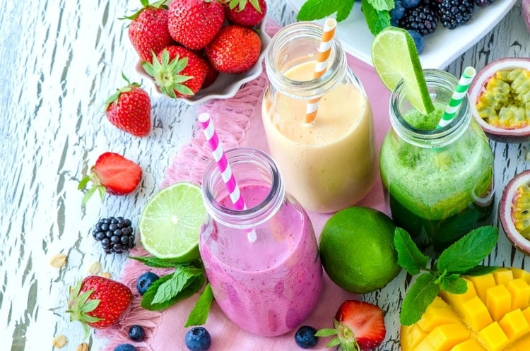 colorful smoothies and fruits for self care routine