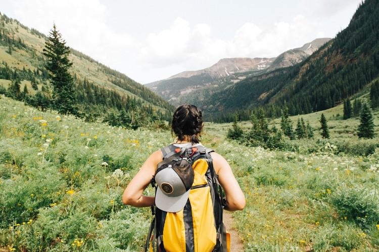 woman hiking backpack