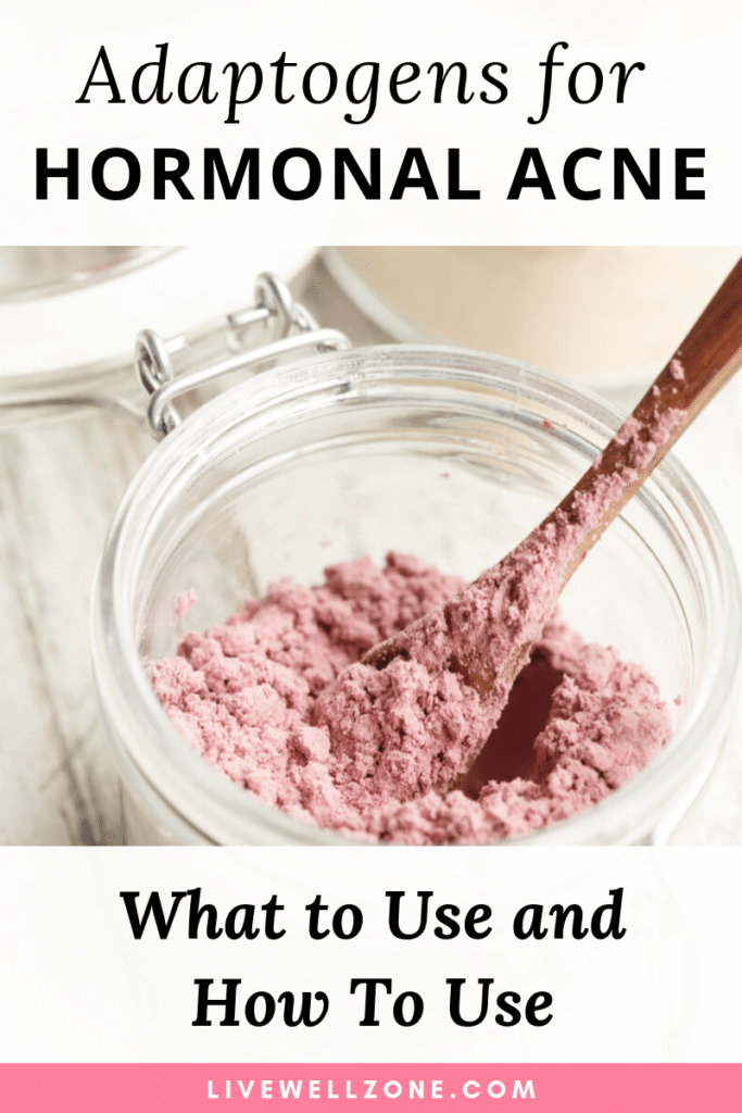 adaptogens for hormonal acne powder in jar