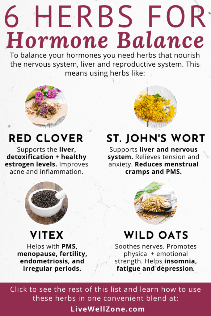 infographic showing herbs that balance hormones