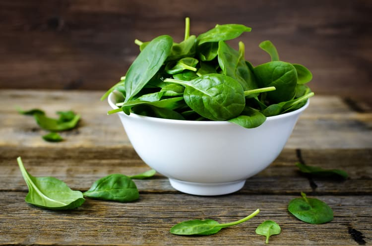 ingredients for a green smoothie bowl spinach
