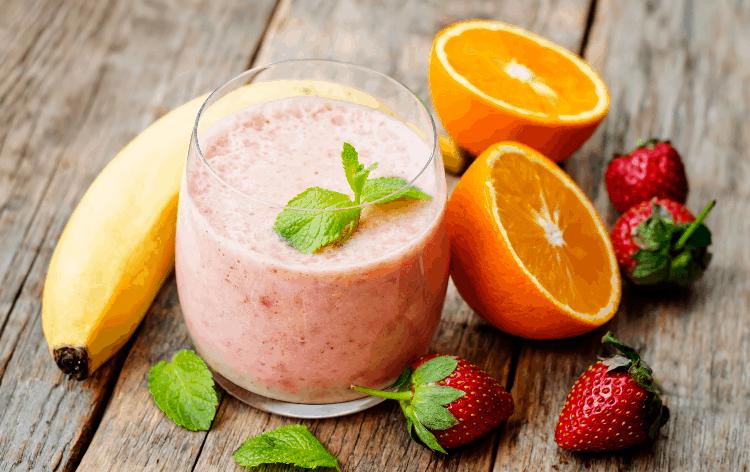 strawberry banana smoothie with apple orange juice