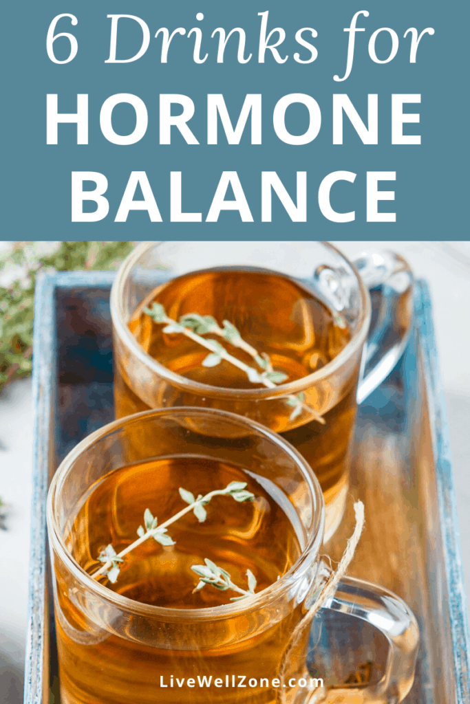 herbal tea in glass for drinks to balance hormones
