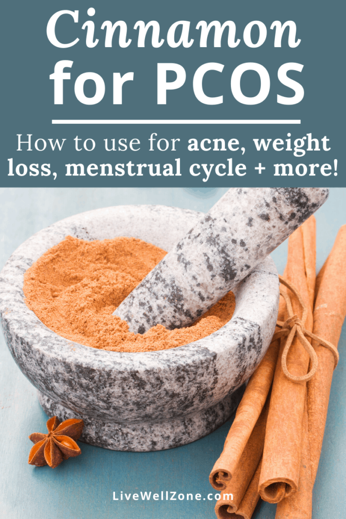 cinnamon for pcos sticks and powder with mortar