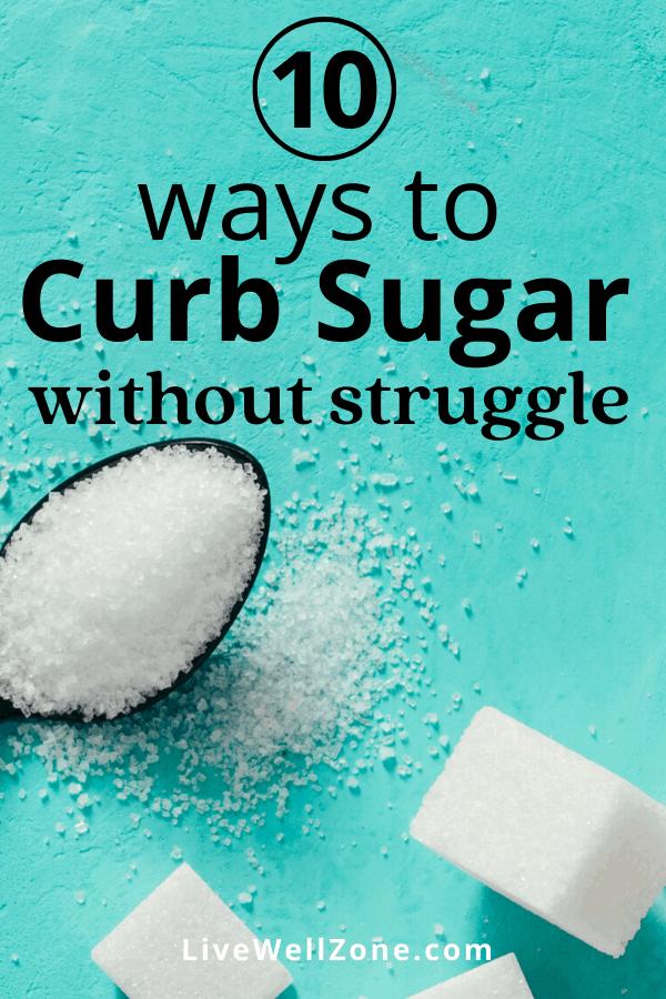 curb sugar cravings pin sugar on blue blackground