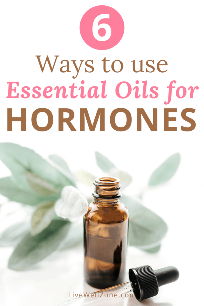 where to apply essential oils for hormone balance pin with bottle and dropper