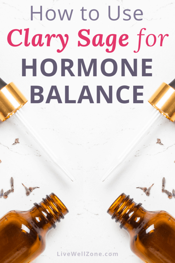 how to use clary sage oil for hormone balance - pin image with essential oil bottles and droppers