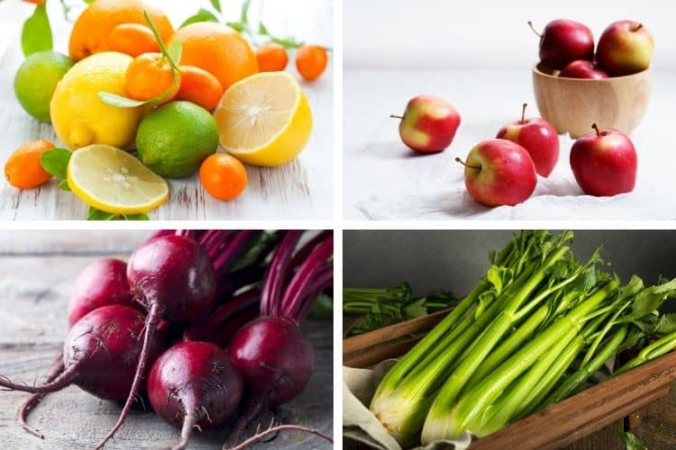 ingredients for a hormone balancing juice - celery beetroot apples and citrus